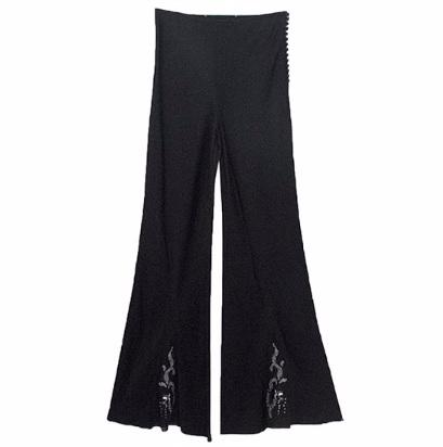 Black Flared Trousers with Dragon Embroidery