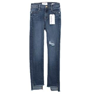 Frame Denim Dark Blue Le High Straight Raw Stagger Jeans