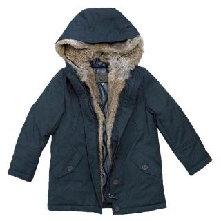 Bonpoint Boys Navy Coat with Fur Interior and Hood