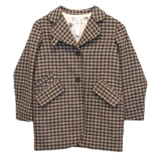 Bonpoint Girls Checkered Wool Blend Coat