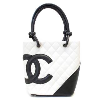 Chanel Small White Leather Cambon Tote Bag