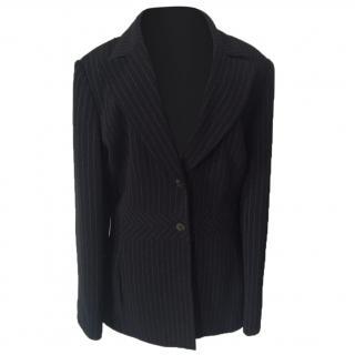 Liz Claiborne black pinstripe long suit jacket blazer