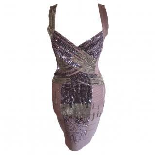 Herve Leger grey embroidered dress