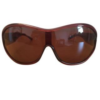 Celine SC1649 rust brown coloured oval shape sunglasses brown lens
