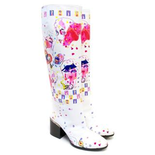Hogan Ltd Ed. White Knee Length Boots with Abstract Design