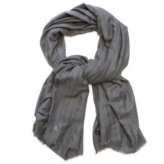 Grey Pin Striped Cashmere Scarf