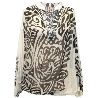Giambattista Valli White and Black Sheer Blouse