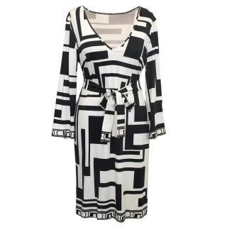Emilio Pucci Black and White Silk Dress with Belt