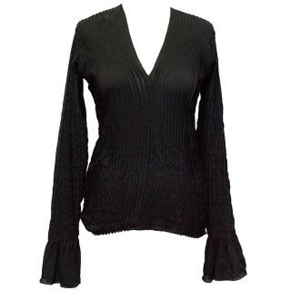 Yves Saint Laurent Black Long Sleeved Pleated Blouse