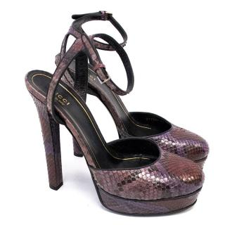 Gucci Purple and Red Huston Python Platform Heels