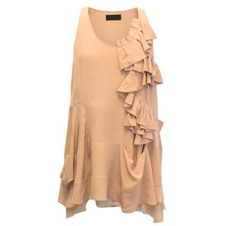Derek Lam Nude Ruffled Silk Top
