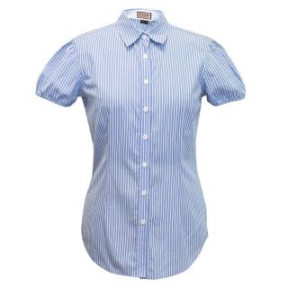 Thomas Pink Short Sleeved Blue and White Striped Shirt