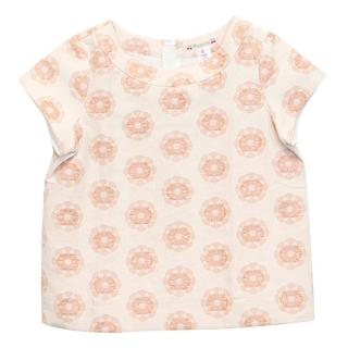 Bonpoint Girls Short-Sleeved Nude and Pink Floral Top