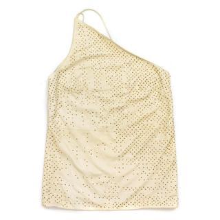 Donna Karan Signature Cream Leather Vest with Gold Studs