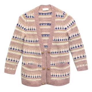 Simple Kids Pink, Gold, White and Blue Cardigan