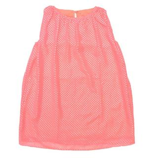 Girls Sleeveless Pink Top with Silver Polka Dots