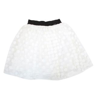 Junior Gaultier White Tulle Polka Dot Skirt