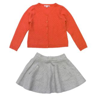 Bonpoint Coral Cashmere Cardigan and Grey Wool Skirt