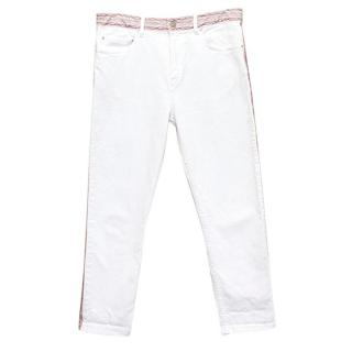 Isabel Marant White Jeans with Embroidered Waist and Seams