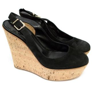 Gianvito Rossi Black Suede Sling Backs with Cork Wedges