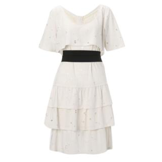 See by Chloe Beige Knee Length Tiered Dress vented throughout Size 8