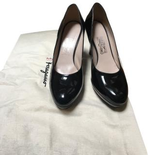 Ferragamo Black Patent Pumps