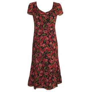 Caroline Charles pure silk rose print dress