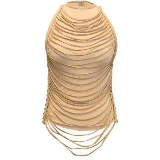 Jean Claude Jitrois Beige Leather and Silk Blend Top
