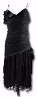 Jovovitch Hawk Black Lace Midi Drop Waist Cocktail Dres