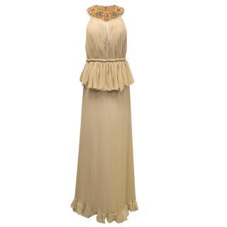 Miss New Yorker Beige Maxi Halter Neck Dress
