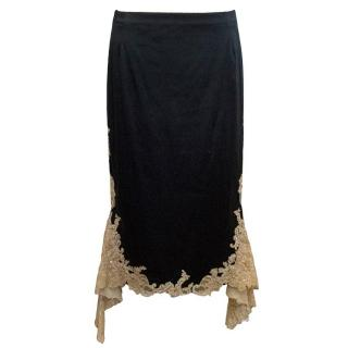 Mandalay Black Maxi Skirt with Beige Lace Inserts