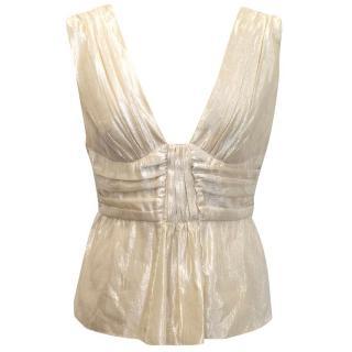 Alberta Ferretti gold silk blend top