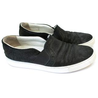 Lanvin Black Textured Leather Slip-On Sneakers