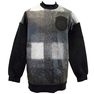 Astrid Andersen Grey, Black and White Laminated Sweater