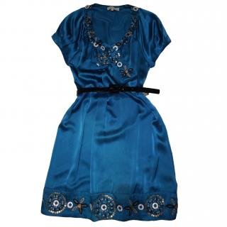 Ann Louise Roswald blue silk dress with embelishments