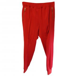 Giambattista Valli Red Lounge Pants with knitted cuff