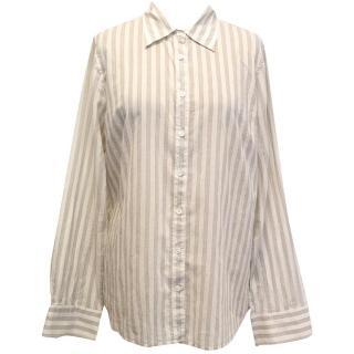 J. Crew Cream Shirt with Grey Stripes