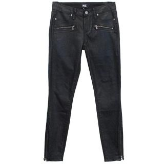 Paige black Jane zip waxed coated jeans