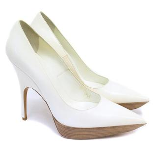 Balenciaga Off-White Point Toe Leather Heels with Wooden Platforms
