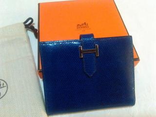 Hermes Bearn Varanus Nilocticus Wallet,  in Electric Blue