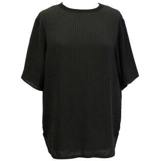 Joseph black short sleeve silk blend top