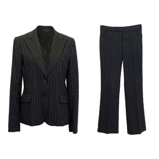 Theory black and blue striped suit