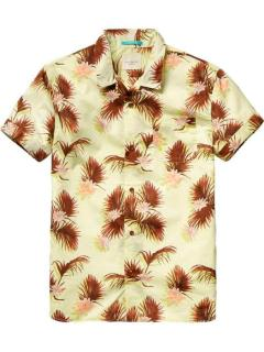 Scotch & Soda pistache green Hawaian printed shirt