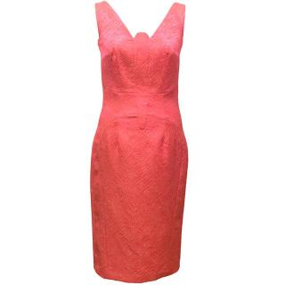 Philip Armstrong Pink Sleeveless Snakeskin Effect Dress