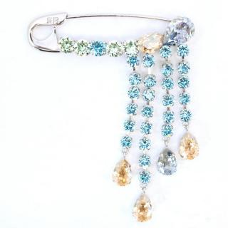 Sonia Rykiel Safety Pin Brooch with Rhinestones