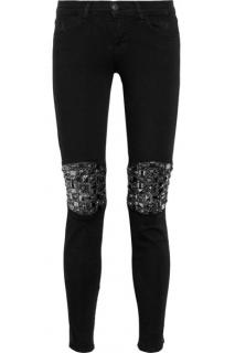 J Brand Embellished Leather Paneled Jeans