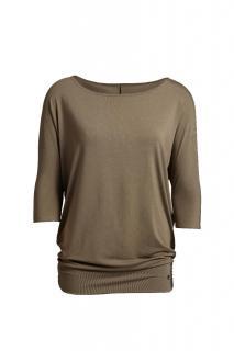 Belinda Robertson Luxe Jersey Relaxed Fit Slash Neck, Khaki Green, Medium