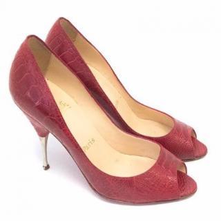 Christian Louboutin Red Animal Skin Heels