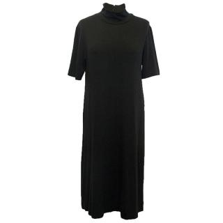 DKNY Black High Neck Jersey Dress
