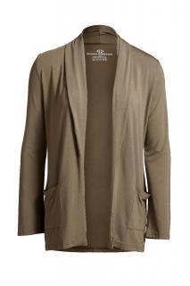 Belinda Robertson Luxe Jersey Edge to Edge Cardigan, Khaki Green, Small